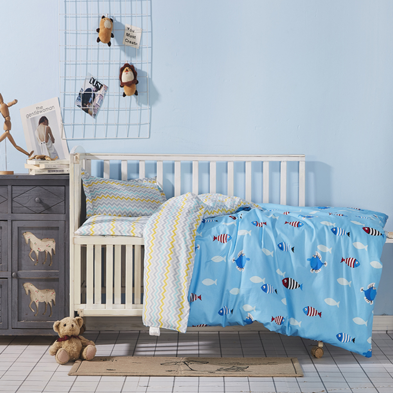 Kindergarten quilt three sets of core six sets of baby into the garden bedding cotton children's nap bedding removable