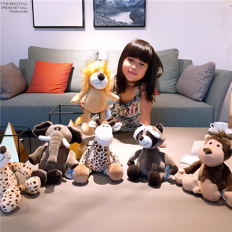 森林动物公仔长颈鹿大象狮子猴子抓机娃娃毛绒玩具儿童睡觉抱女孩