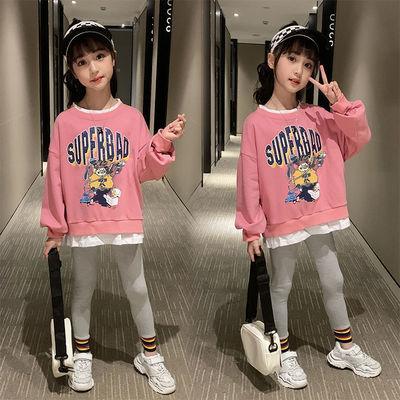 女童卫衣春装2021新款韩版洋气中大儿童装女孩春秋季时尚宽松上衣