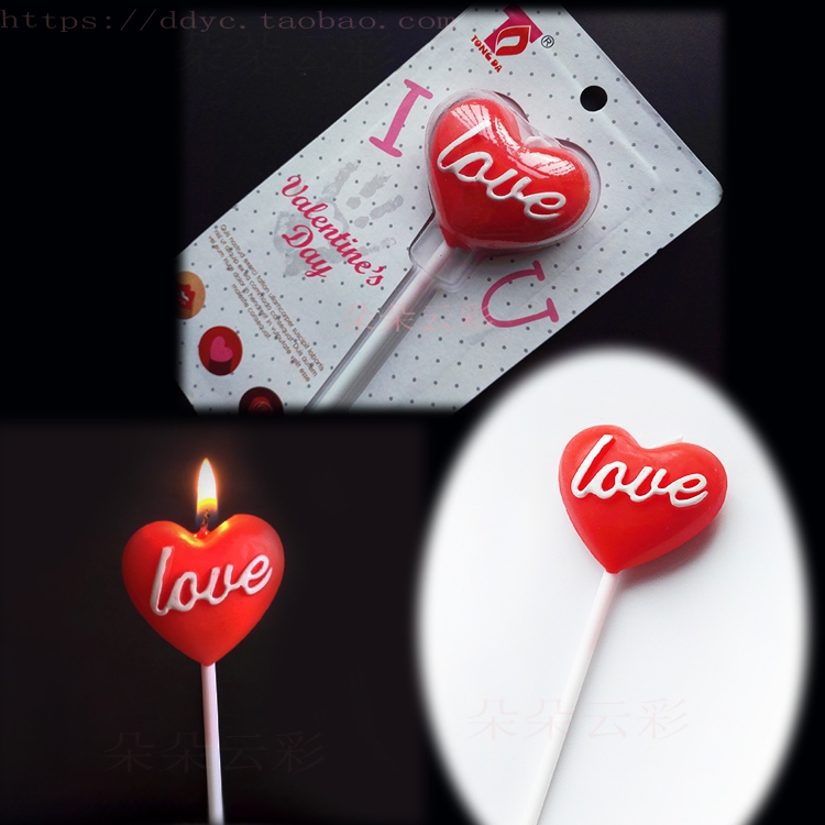 c red love candle love letter lollipop type confession birthday cake decoration heart creative