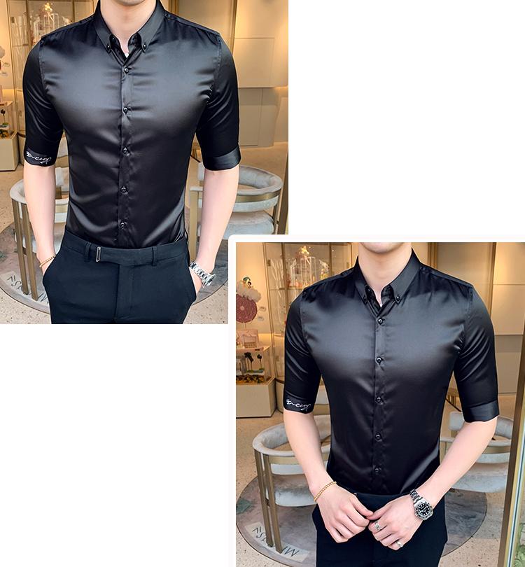 A206/A6011P65 纯色字母刺绣长袖衬衫有中袖短袖可代发M-5XL