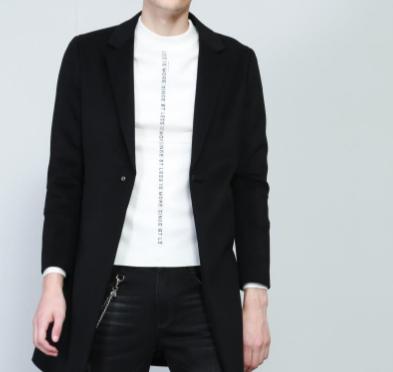 Q8DYR2071S Áo khoác nam mùa đông cho nam Slim Black đơn giản - Áo len