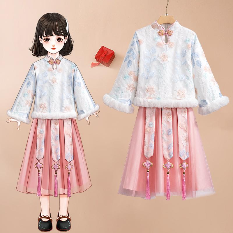 9472#2021风刺绣儿童加棉加厚保暖拜年服套装汉服
