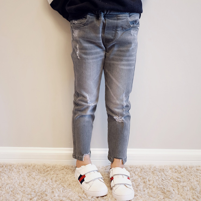 BBW Tong family parent ash catch hole denim pants mother and daughter  fitted personality pants 0328 2