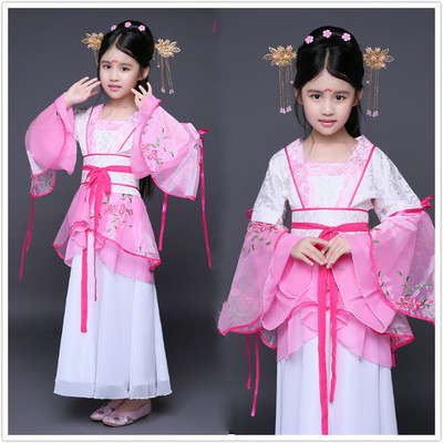 Antique children, costumes, costumes, girls, little imperial concubines, Tang Dynasty guzheng, seven fairy dance performances, Hanfu.