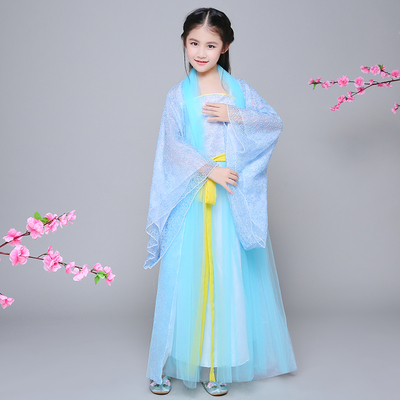 Children's chaise longue costumes trailing dress girl princess Tang Dynasty dress Guzheng costume show catwalk COS dress