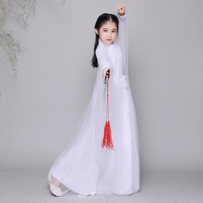 Antique children's costume, cos white fairy princess, Zheng performance, Hanfu.