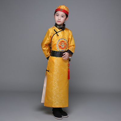 Chinese Folk Dance Dress Children's costumes Qing Dynasty landlord emperor Manchu Hanfu ancient costumes