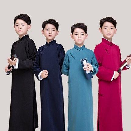 Children's Cross suit, mandarin jacket, long gown, long gown, boy's ancient costume, coat, Republic of China, student costumes and short clothes.