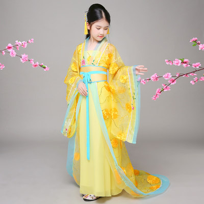 Chinese style children's ancient costume, Han costume, Tang Dynasty, imperial concubine, fairy performance costume, zither, trailing girl's fashion show.