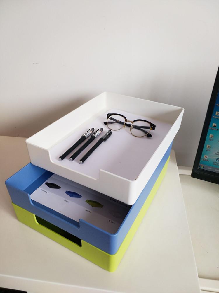 办公室文件收纳盒用品a4纸多层叠加杂物饰品储物盒放纸的盒子桌面