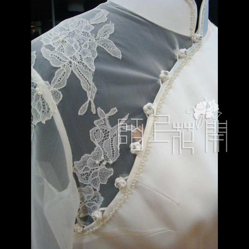 Платье Ципао Обычай-сделал свадебное платье кружева cheongsam ручной вышивкой& Mo на платье свадебные цветы