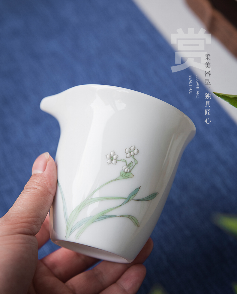 Jingdezhen hand - made kung fu tea cups office suit household ceramics orchid lid bowl