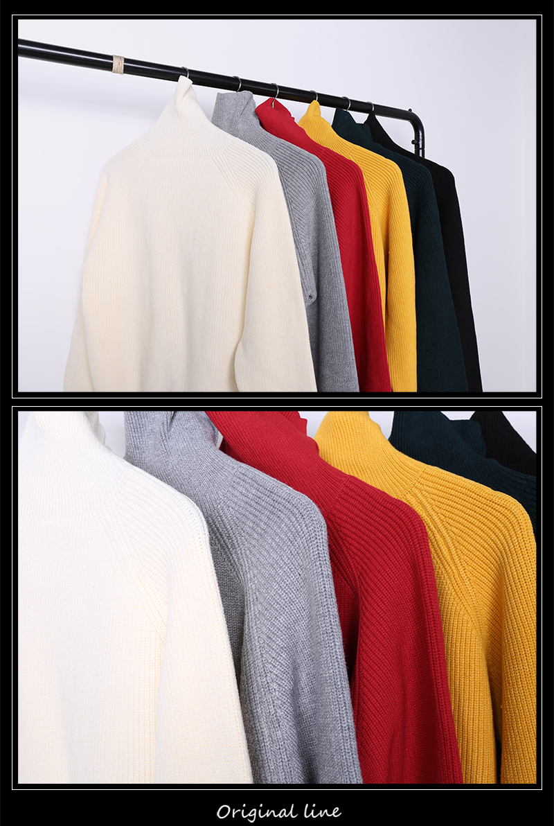 2019 Mùa đông nam chính đơn giản áo len giản dị nam nửa áo len cổ lọ Áo len đáy quần màu đỏ đỏ vàng - Hàng dệt kim