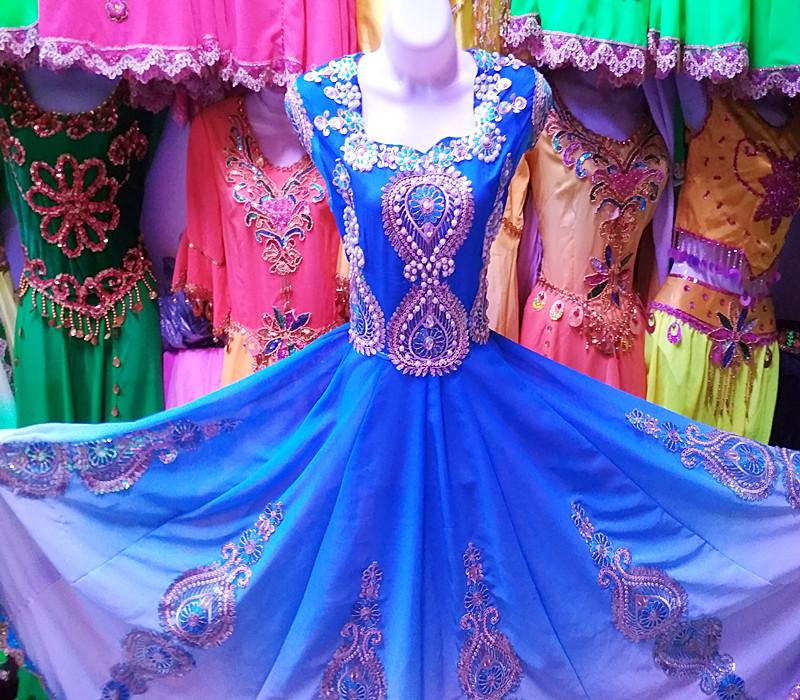 Новый дизайн новый Синьцзян этнический танец костюм меньшинство танец представление одежда женщина с жемчужинами Бисероплетение