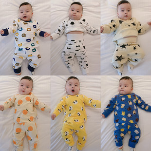 Newborn baby and children's thermal underwear set spring and autumn clothes boneless boys and girls baby pajamas cotton home service