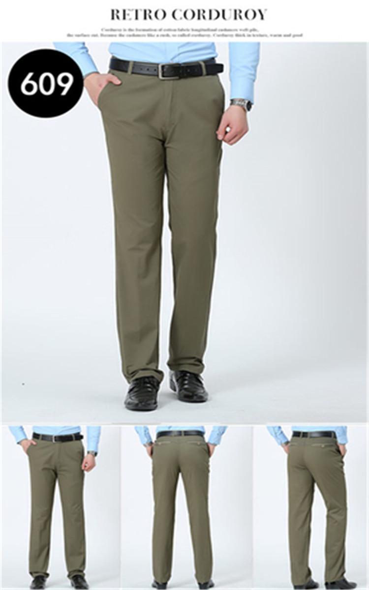 Mùa xuân và mùa hè phần mỏng người đàn ông trung niên của quần âu lỏng eo cao cotton daddy trung niên người đàn ông thẳng của quần quần