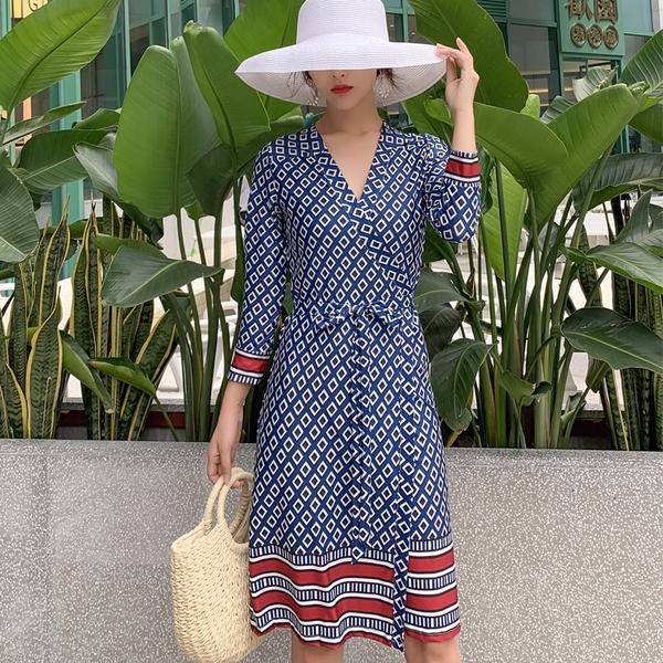 KTY11179#海边度假波西米亚一片式连衣裙显瘦超仙