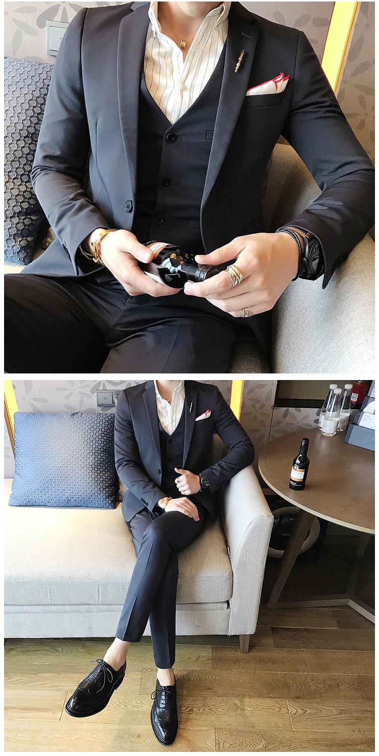 韩版纯色小西装 西服套装 夜店发型师 结婚礼服三件套 大红色TZ09