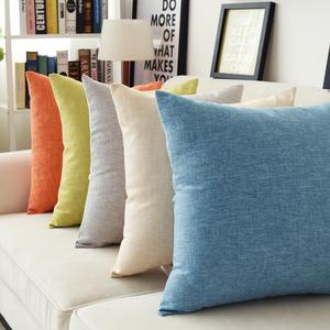 素色办公室沙发靠垫加厚汽车靠枕纯色家用麻布大抱枕靠背腰靠腰枕