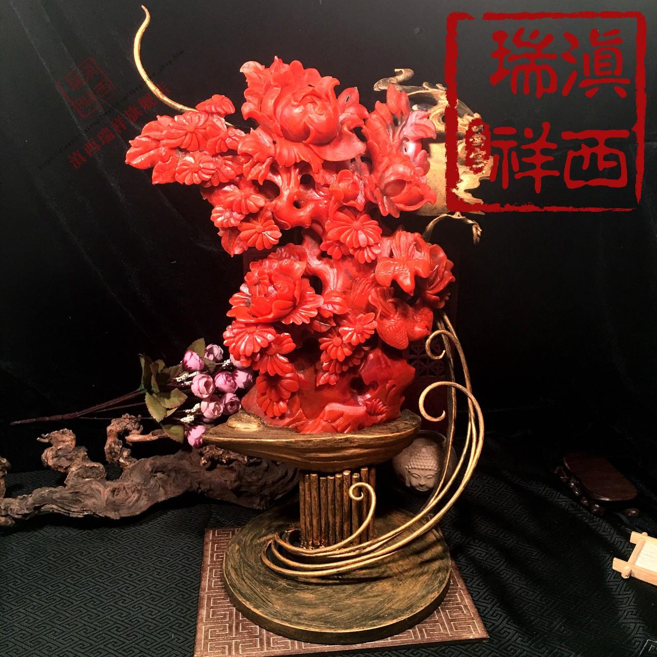 滇西瑞祥 保真极品保山南红玛瑙巧雕花开富贵大摆件收藏级J