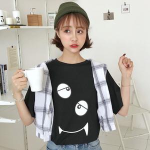 202#【实拍】夏季新款短袖T恤衫 女装宽松休闲卡通印花上衣