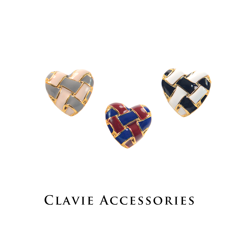 Autumn And Winter New Anese Double Color Woven Plaid Glaze Earrings Without Ear Holes Spiral