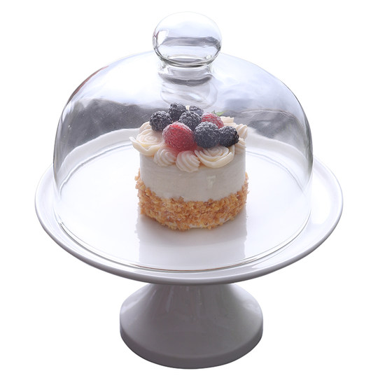 High-foot cake tray with cover transparent glass cover wedding birthday dessert 摆 台 cake pallet camera display stand