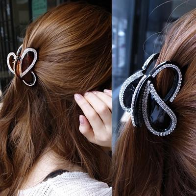 韩国进口正品发夹 中号发抓头发饰品 韩版满钻水钻小抓夹头饰
