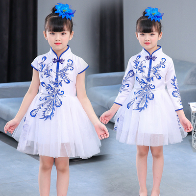 New children's Princess Dress performance, girls' Peng Peng skirt, blue and white porcelain, guzheng, performance, costumes, Chinese style women