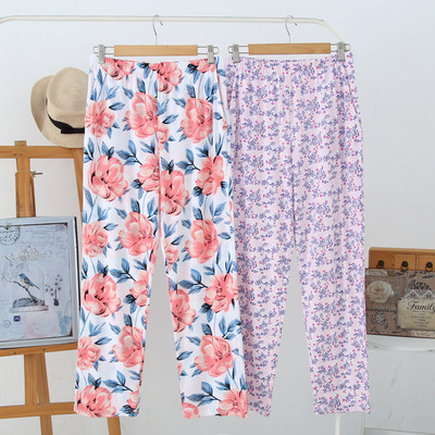 AB underwear spring and summer middle-aged and elderly home pants thin cotton printed trousers loose large size casual pajamas women