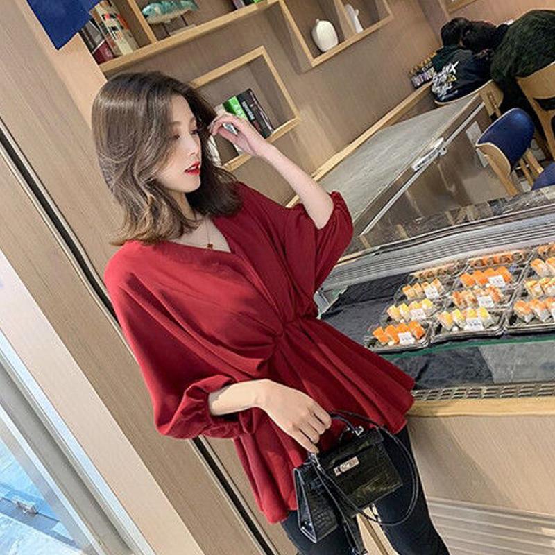 春夏新款2019大码韩版宽松V领收腰显瘦雪纺衬衣蝙蝠袖衬衫上衣女