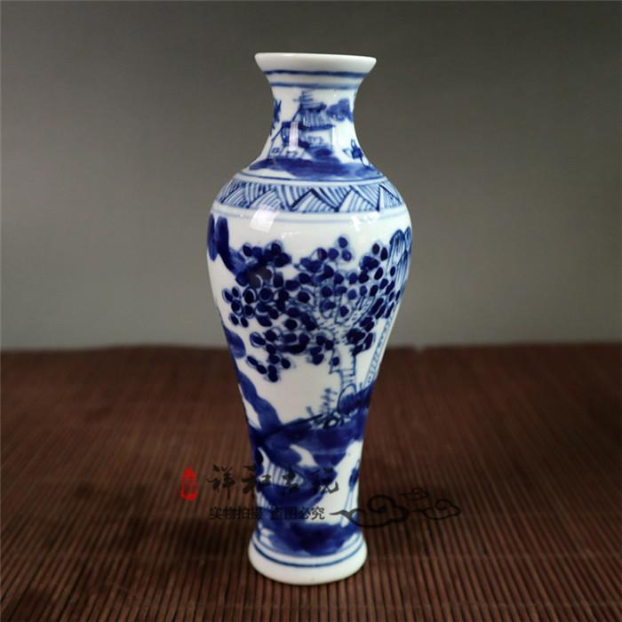 天然玉飾真品古玩景德鎮陶瓷花瓶 現代中式家居客廳裝飾品仿古青花瓷花瓶花插落地