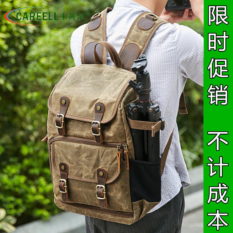 Karel máy ảnh túi máy ảnh DSLR vai ba lô chống nước dung lượng lớn sáp nhuộm ba lô ngoài trời - Phụ kiện máy ảnh kỹ thuật số