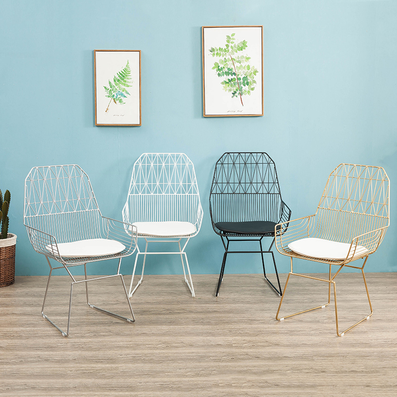 USD 7.81] Nordic creative hollow wire mesh chair outdoor back chair ...