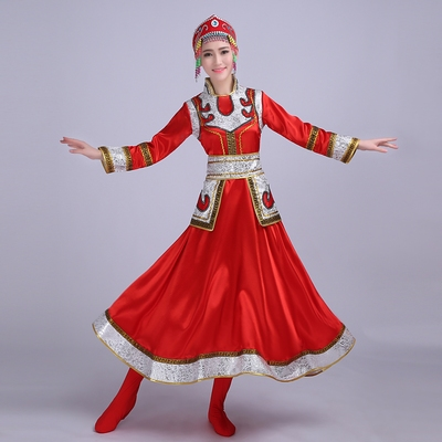 Folk Dance Costumes  Mongolian costume, dance costume, women's costume, performance costume, square dance costume, grassland skirt Robe