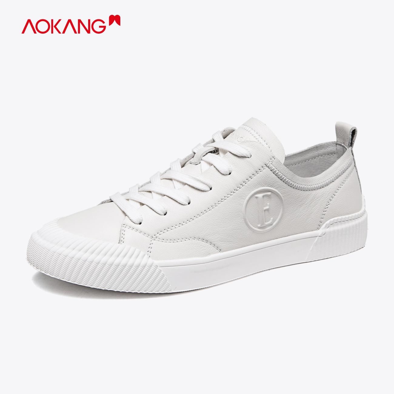 Giày nam Aokang 2020 mùa xuân giày mới, giày nam bằng da thoải mái, đế mềm, đế thấp, giày đế thấp, giày đế mềm - Giày thấp