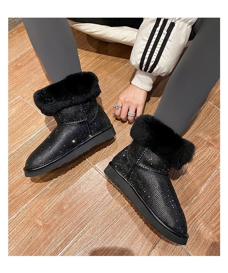 墨染·銀色防水滿鉆羊皮毛一體防滑雪地靴女2121新款短筒大棉鞋女冬加絨