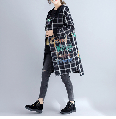 Autumn and winter new fashion literary large size women's printing loose hooded lattice wild cotton coat female autumn and winter