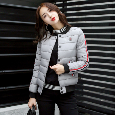 2017 autumn and winter wear new large size Korean students leisure sports baseball down cotton suits women's cotton coat female