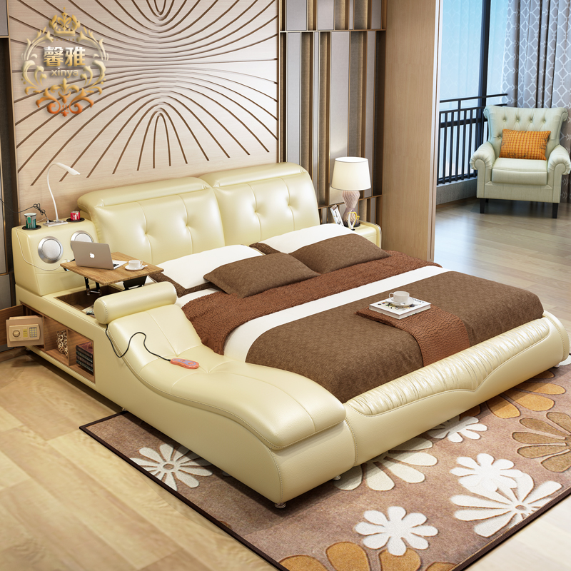 Usd bed tatami smart leather bed main bed for Futon e tatami