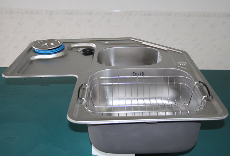 YMJ SUS304 Stainless Steel Shaped Sink 90 Degree Corner Sink Corner Basin  Double Slotted Plate D04F