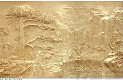 Customized artificial sandstone European relief living room KTV large mural porch glass steel mountain water sculpture