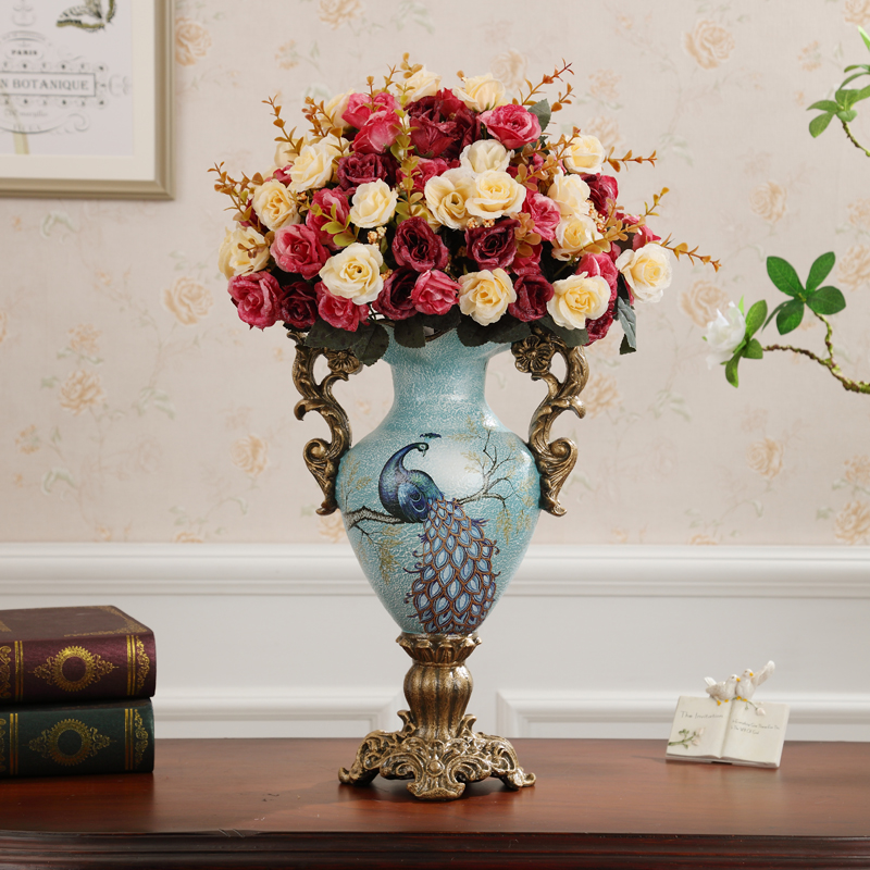 American Decorative Vase Decoration Living Room Flower Home Decorations  Table TV Cabinet European Creative Dried Flowers