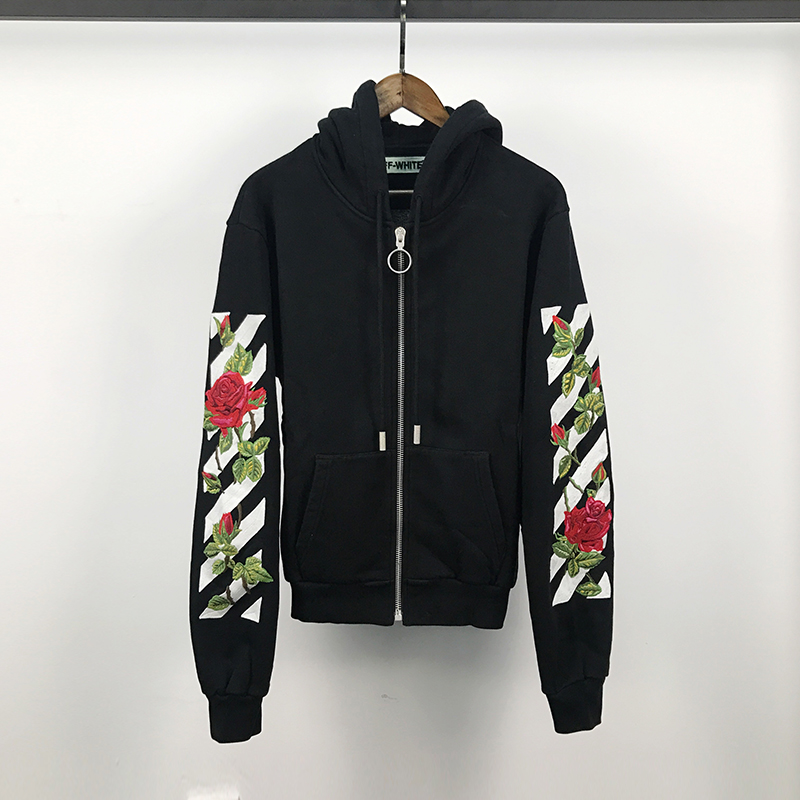 21b1ae8e4c2833 OFF-WHITE C/O VIRGIL ABLOH Floral Rose Embroidered Zip Hoodie Sweater Jacket