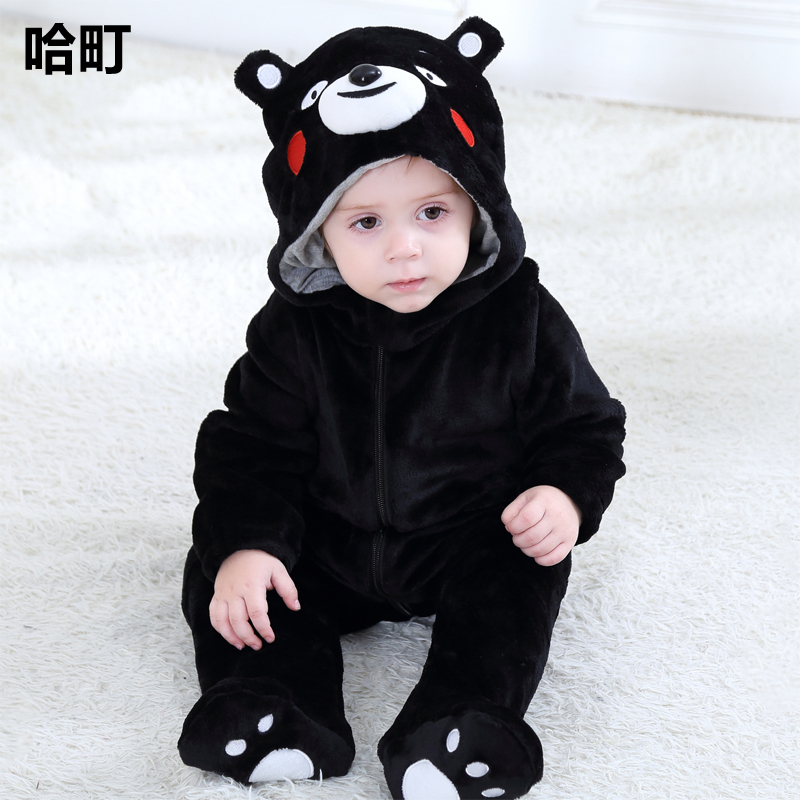 f37ed1aa6 Baby net red Siamese clothes 0-1 years old male baby animal modeling  pajamas cute super cute newborn fall and winter clothes