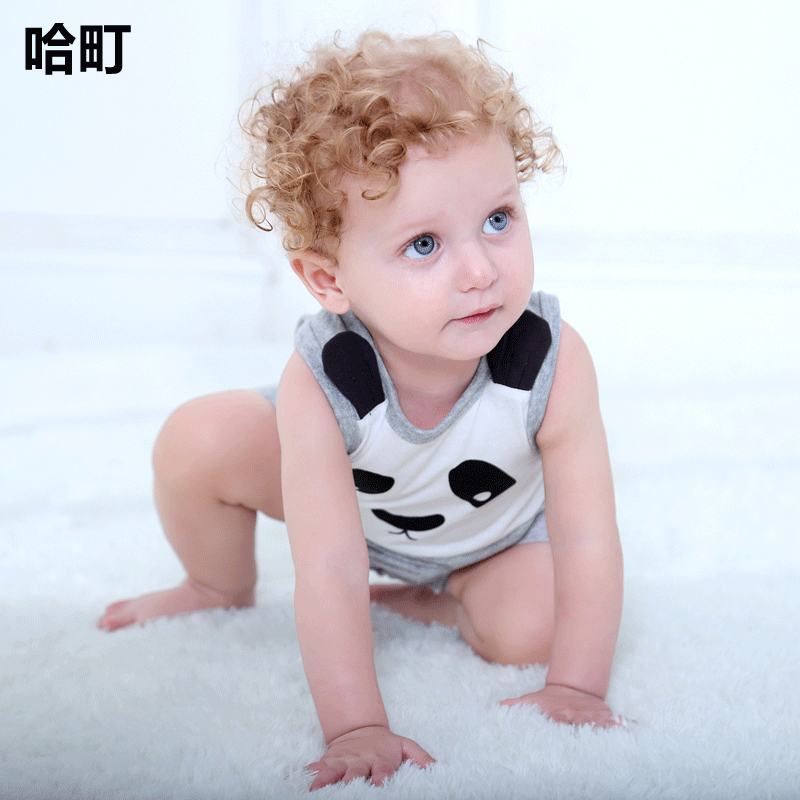 ec2fe117b841 New female baby cute panda baby sleeveless jumpsuit summer infants and  young children full moon cute romper