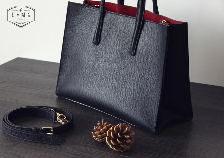 手缝女士手提包红黑色经典款单肩包极简约通勤包意大利头层牛皮