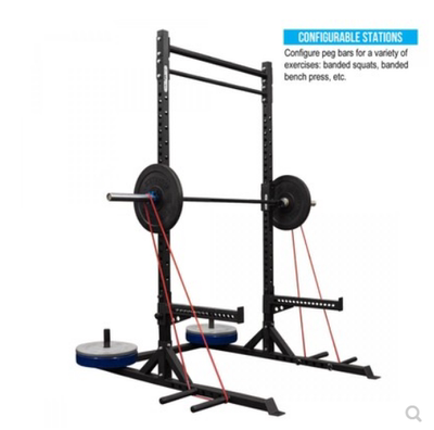 Commercial deep squat rack open lying in the high-rack