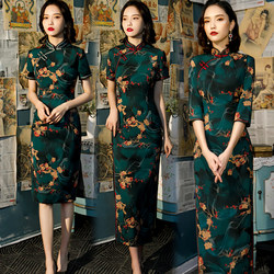 2021 new girly improved version elegant long cheongsam three-quarter sleeves catwalk annual meeting slim young dress